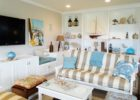white small beach themed coffee table decor ideas