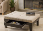white square cushion coffee table with storage