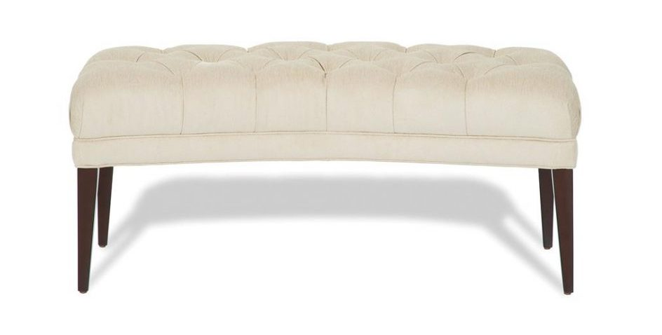 white tufted curved settee for round dining table