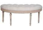 white tufted leather curved bench for round dining table