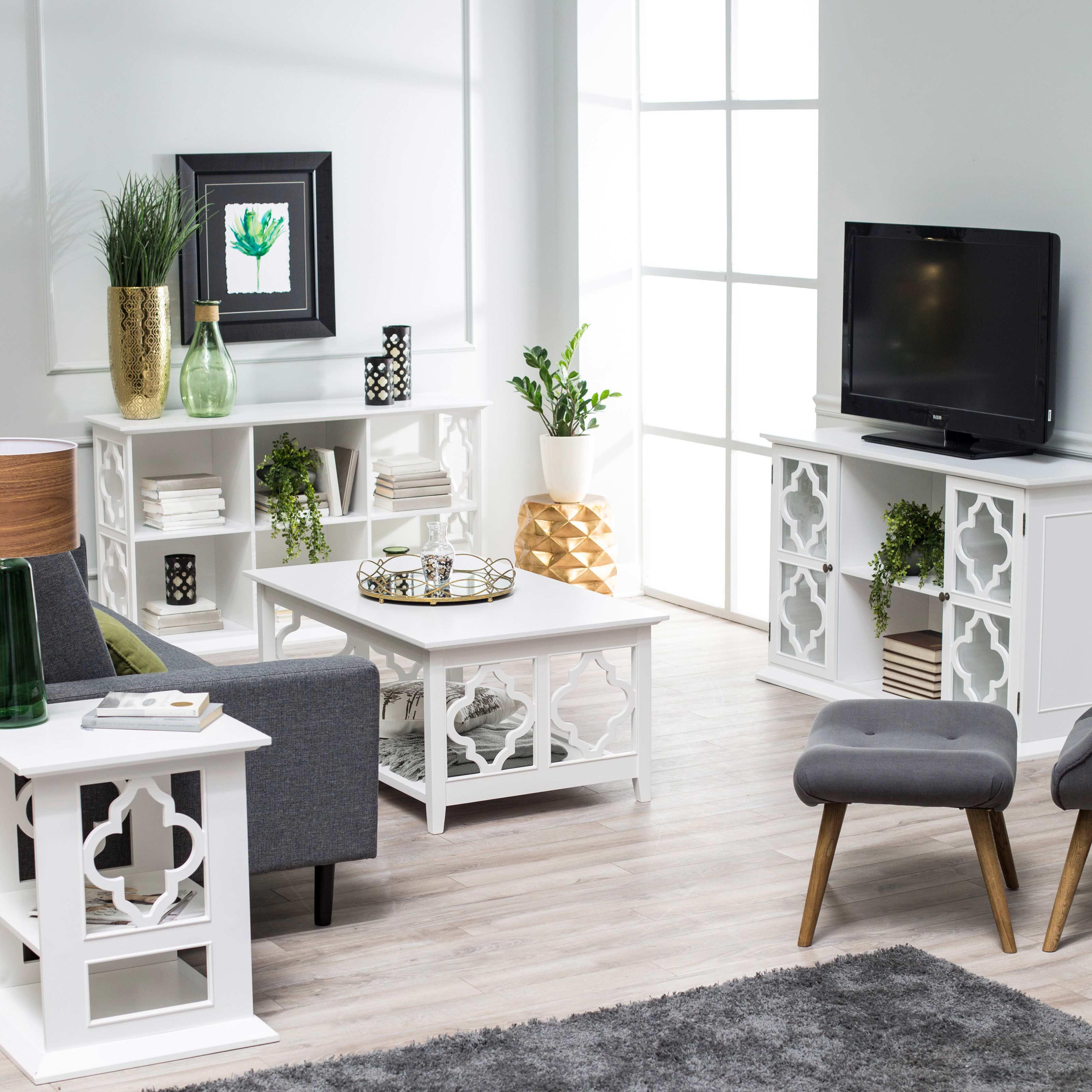 white wood quatrefoil coffee table sets