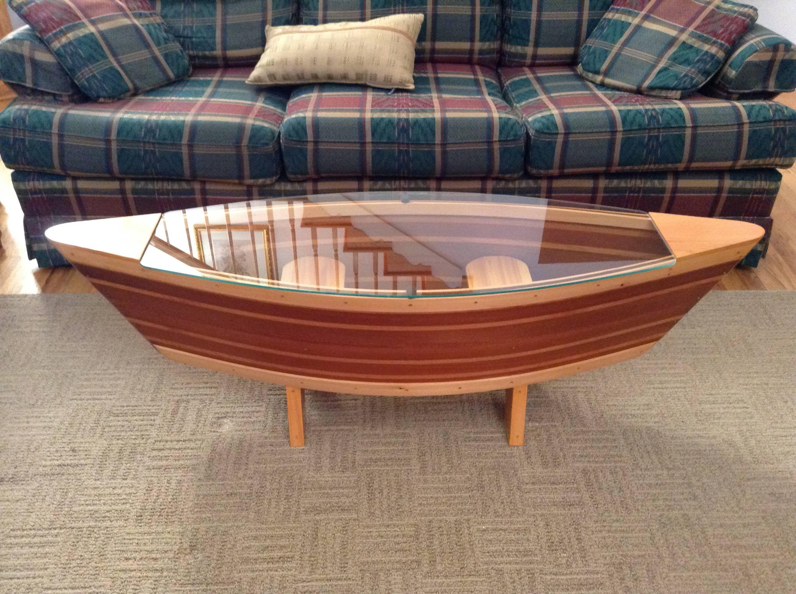 Wood Canoe Coffee Table Glass Top