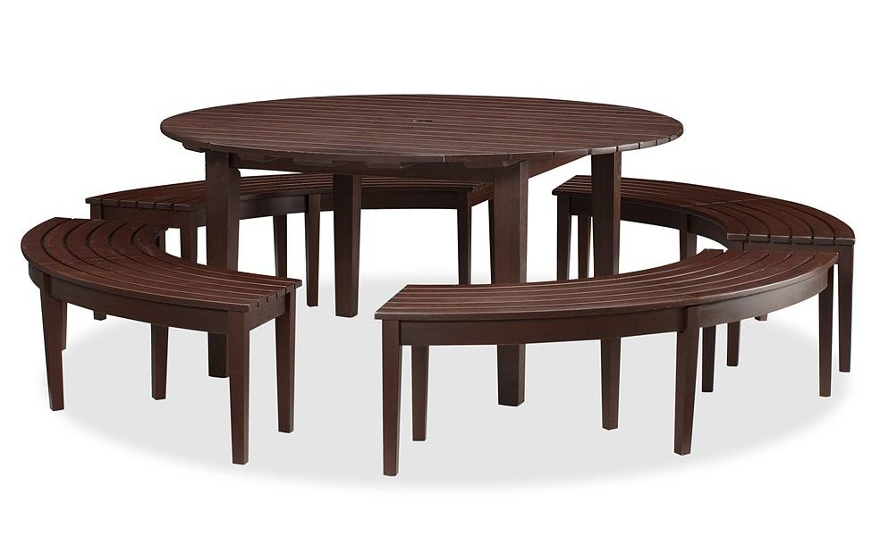 wood curved bench for round dining table