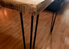 wood dining table with metal legs