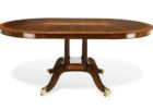 wood oval dining table pedestal base transition in espresso