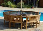 wood patio curved bench for round dining table
