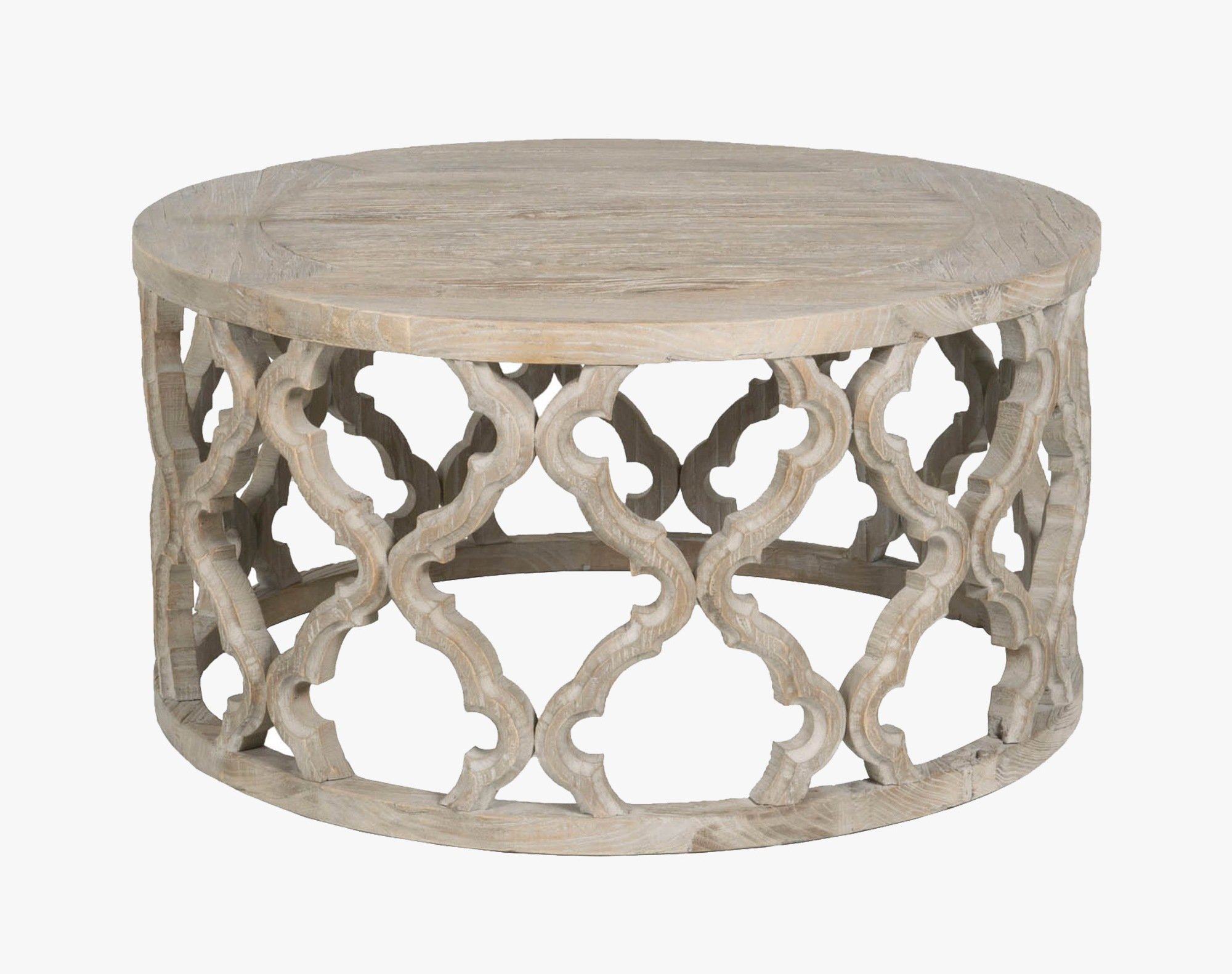 wood quatrefoil coffee table