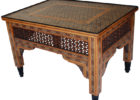 wood square moroccan style coffee table