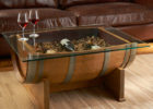 wooden barrel coffee table glass top