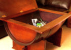 wooden barrel coffee table with storage