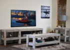 wooden beach themed coffee table decor