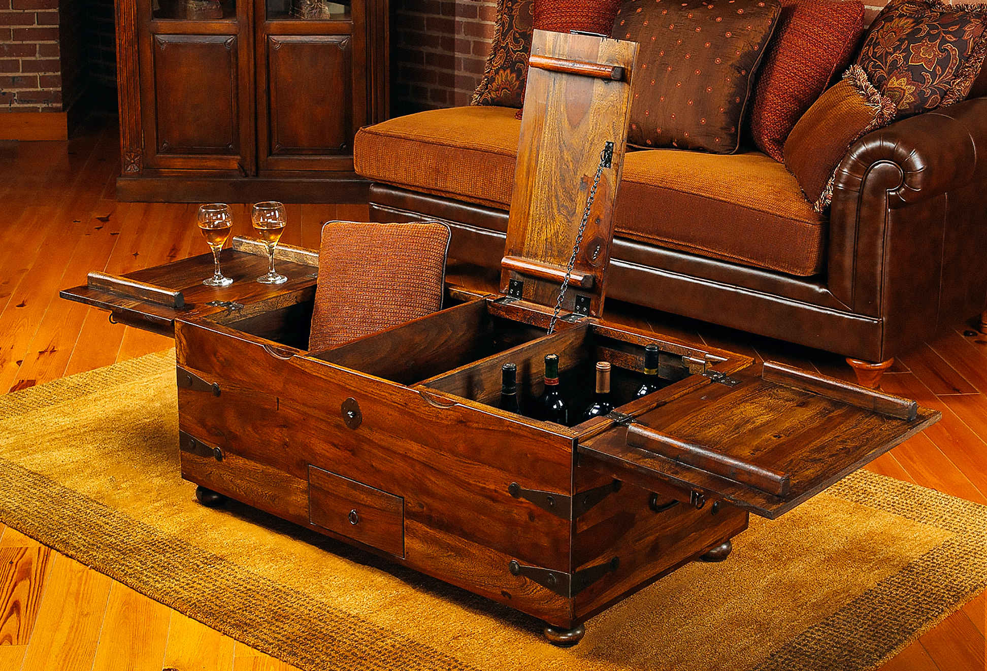 Wooden Chest Hidden partment Coffee Table