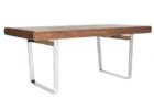 wooden rectangular chrome and wood coffee table