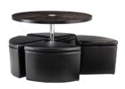 wooden round coffee table with seats underneath