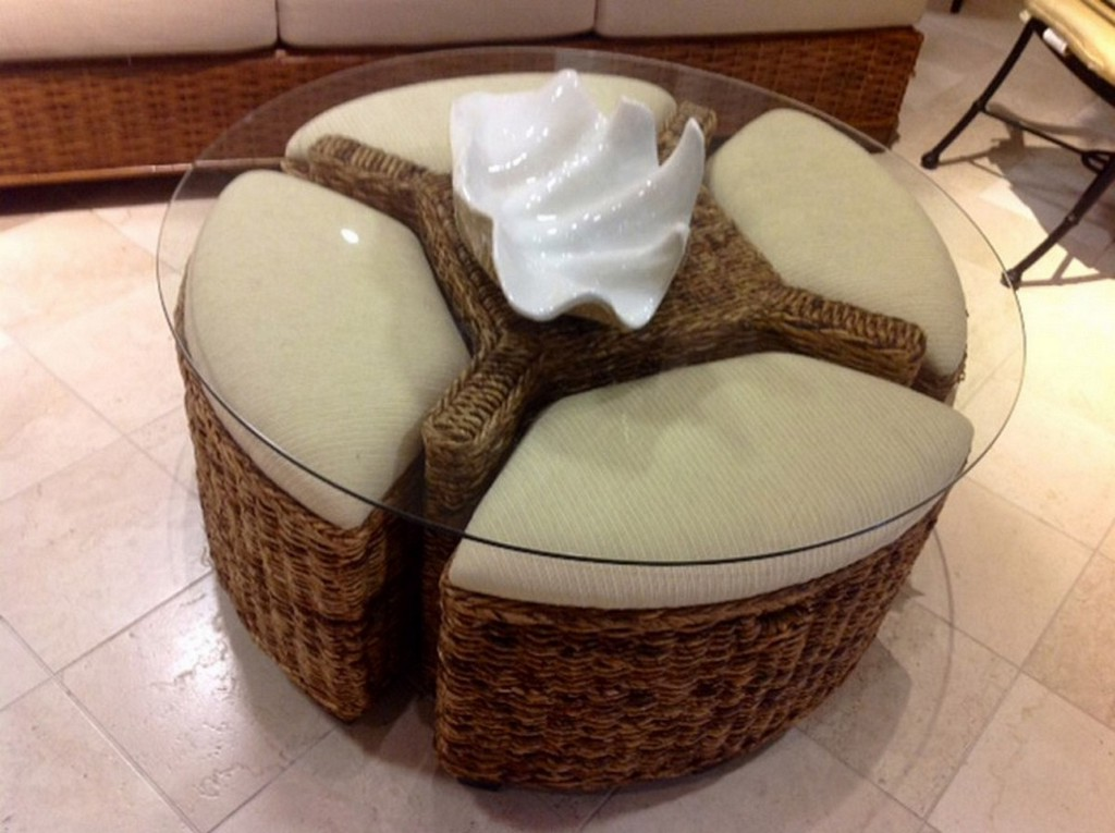 woven wicker coffee table with pull out ottomans