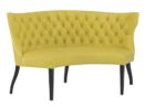 yellow fabric tufted curved settee for round dining table