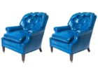 awesome tufted light blue leather club chair