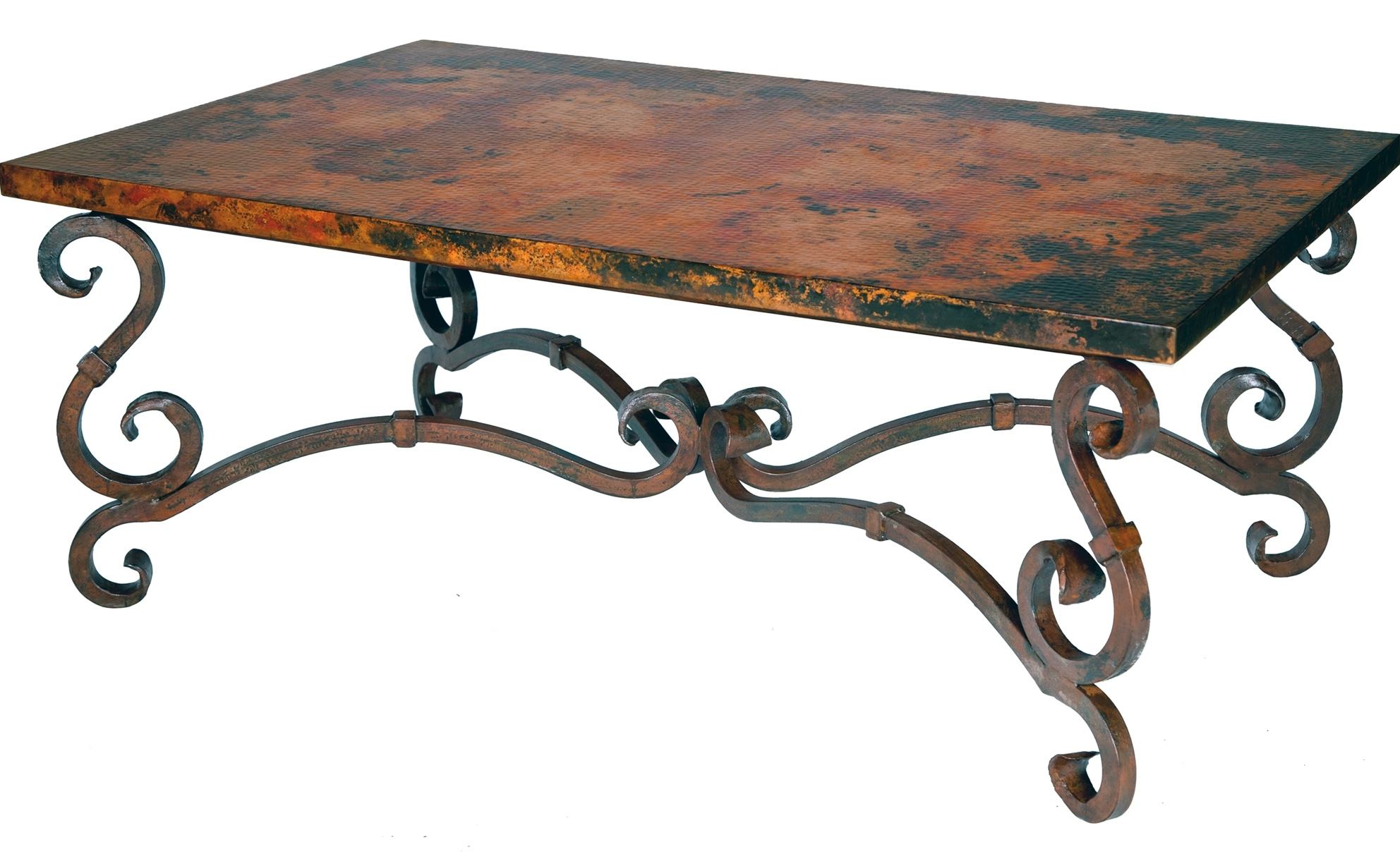 awsome wrought iron coffee table with wood top