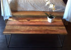 barn wood coffee table for sale with wrought iron legs