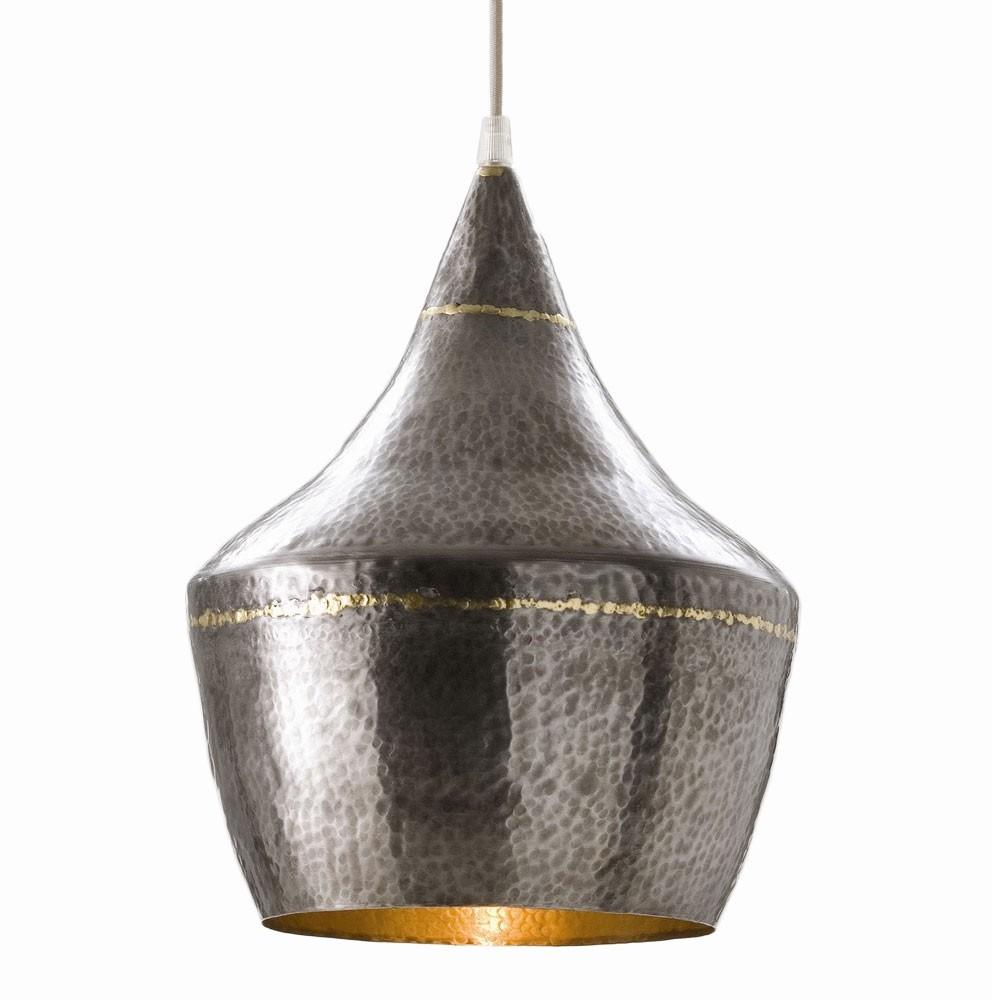 best large hammered metal pendant light
