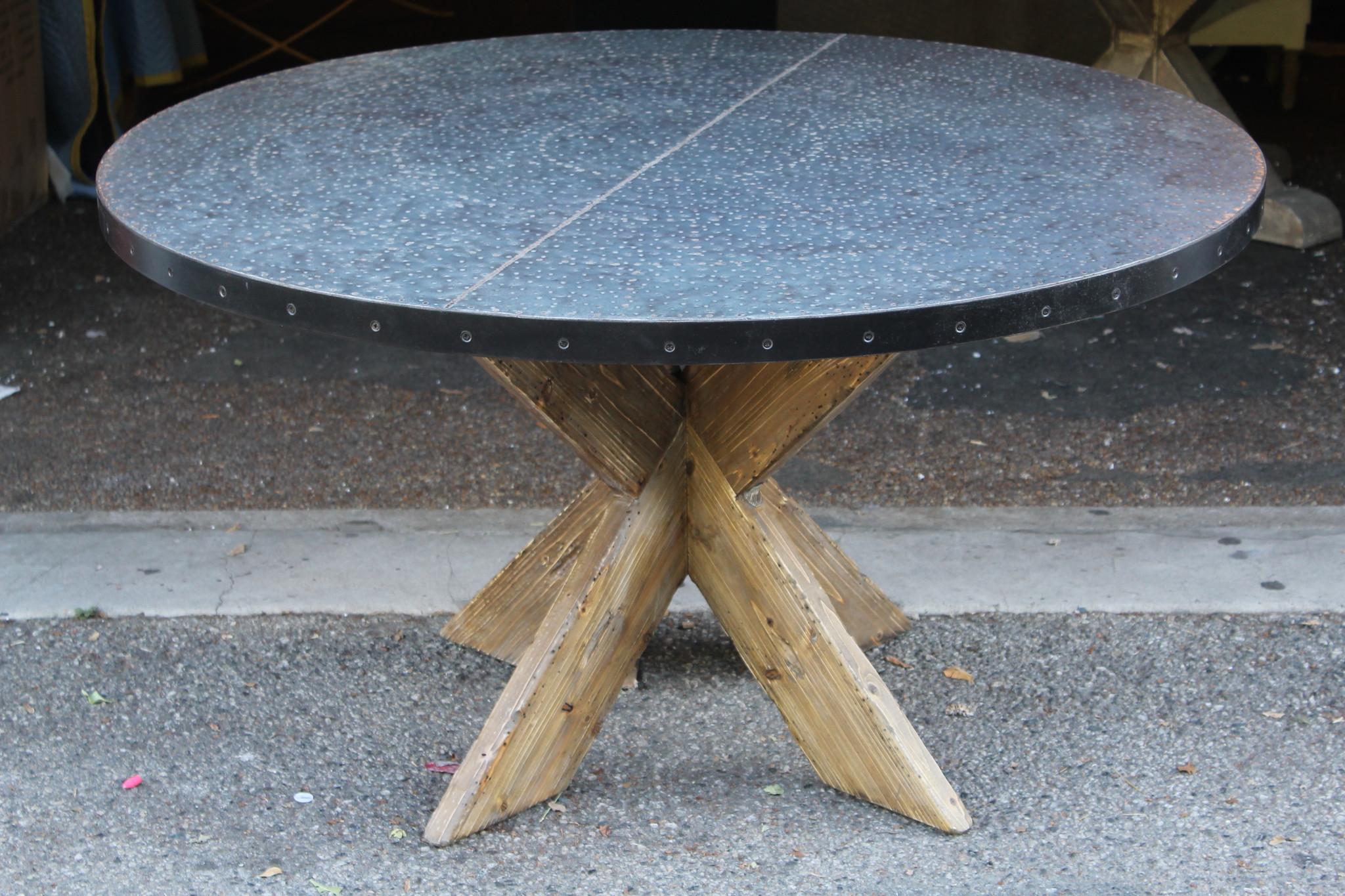 Best Round Zinc Top Round Dining Table 42 Inch Diameter