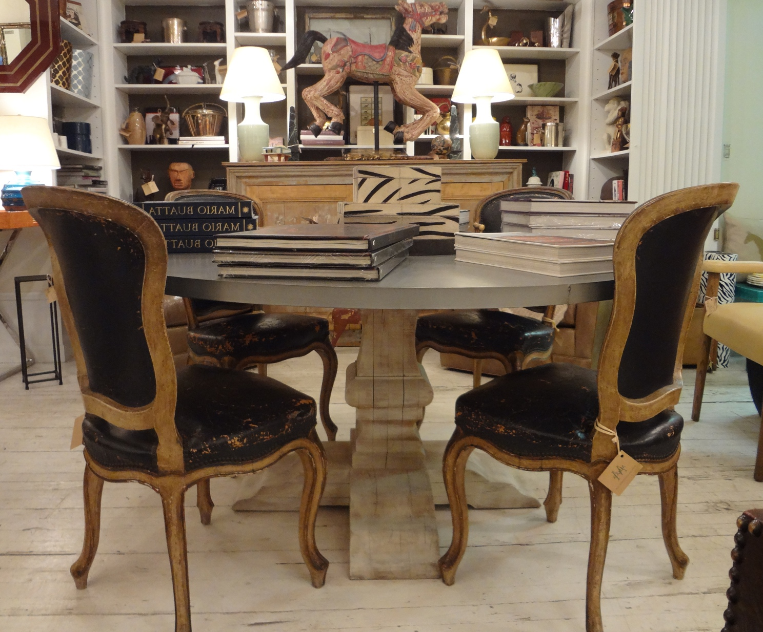 best round zinc top round dining table
