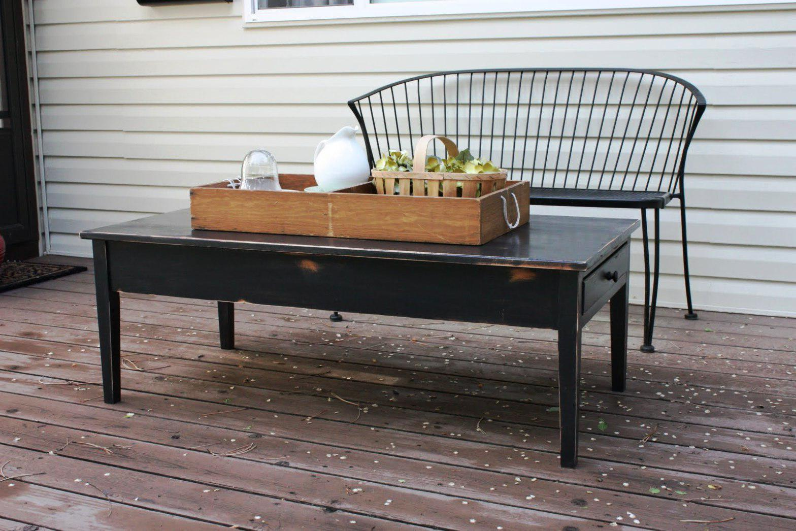 black distressed dark wood coffee table