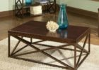 black modern wrought iron coffee table with wood top