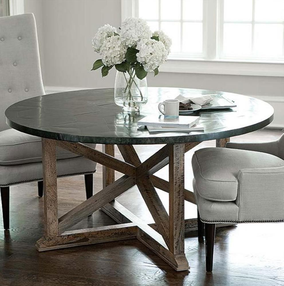 black round zinc top round dining table