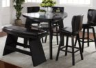 black triangle dining table with bench set