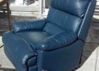blue leather club chair recliner set