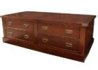 brown dark wood chest coffee table with drawers