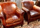 brown leather smoking chair sets