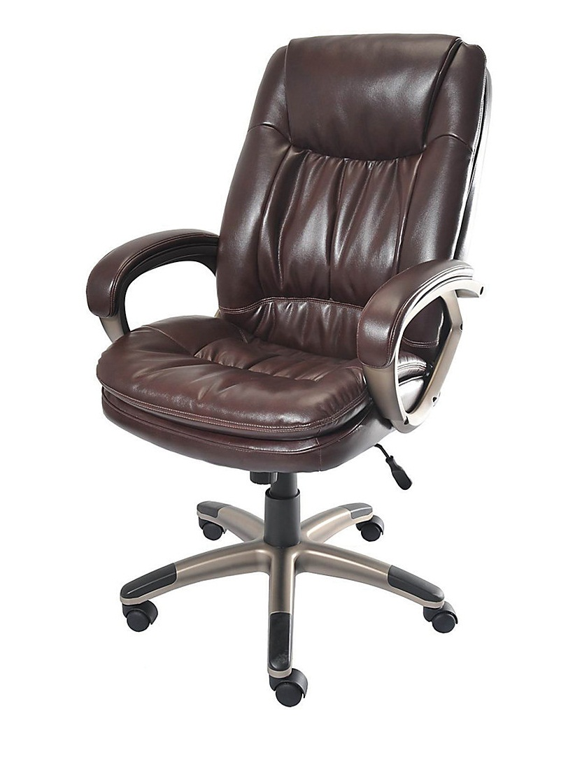 brown realspace fosner high back bonded leather chair