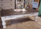 cheap modern white distressed wood coffee table