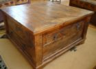 cheap rustic dark wood chest coffee table