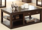 cherry wood coffee table with drawers