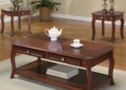 contemporary cherry wood coffee table with drawers