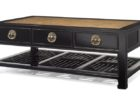 contemporary dark wood chest coffee table with drawers