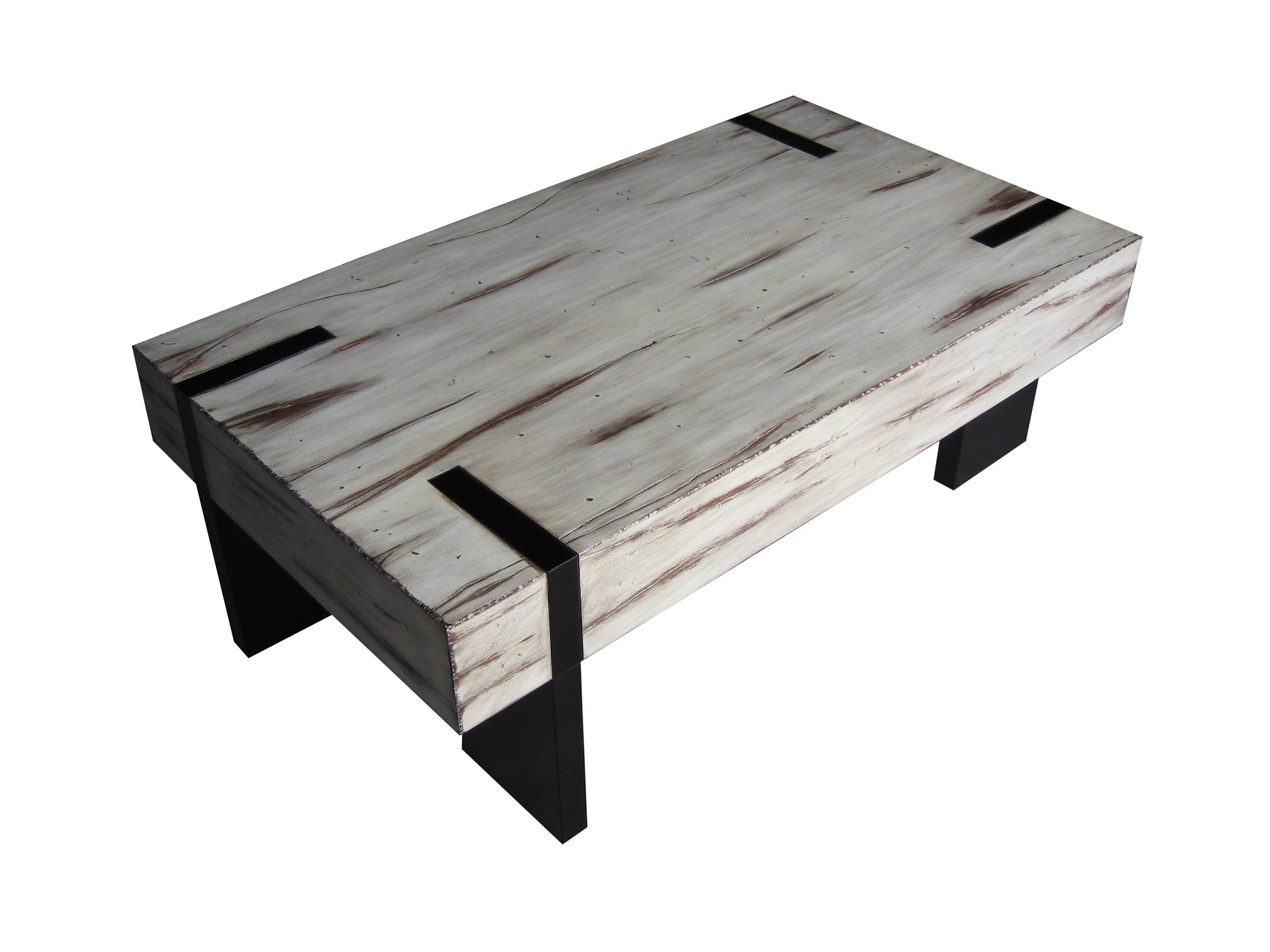 contemporary white distressed wood coffee table