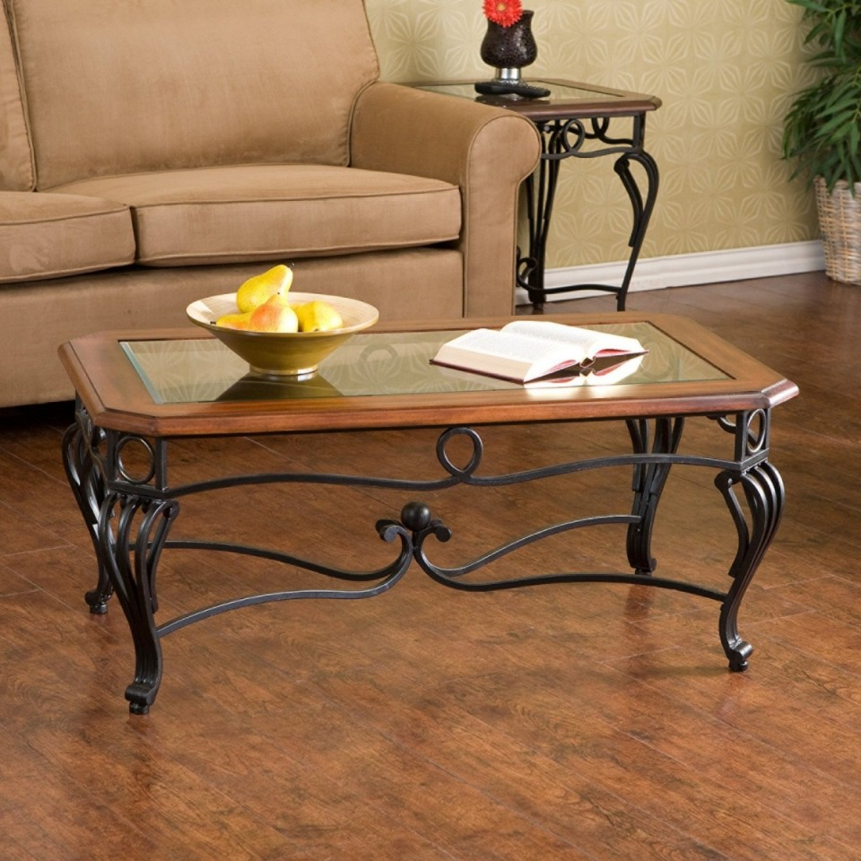 contemporary wrought iron coffee table with wood top