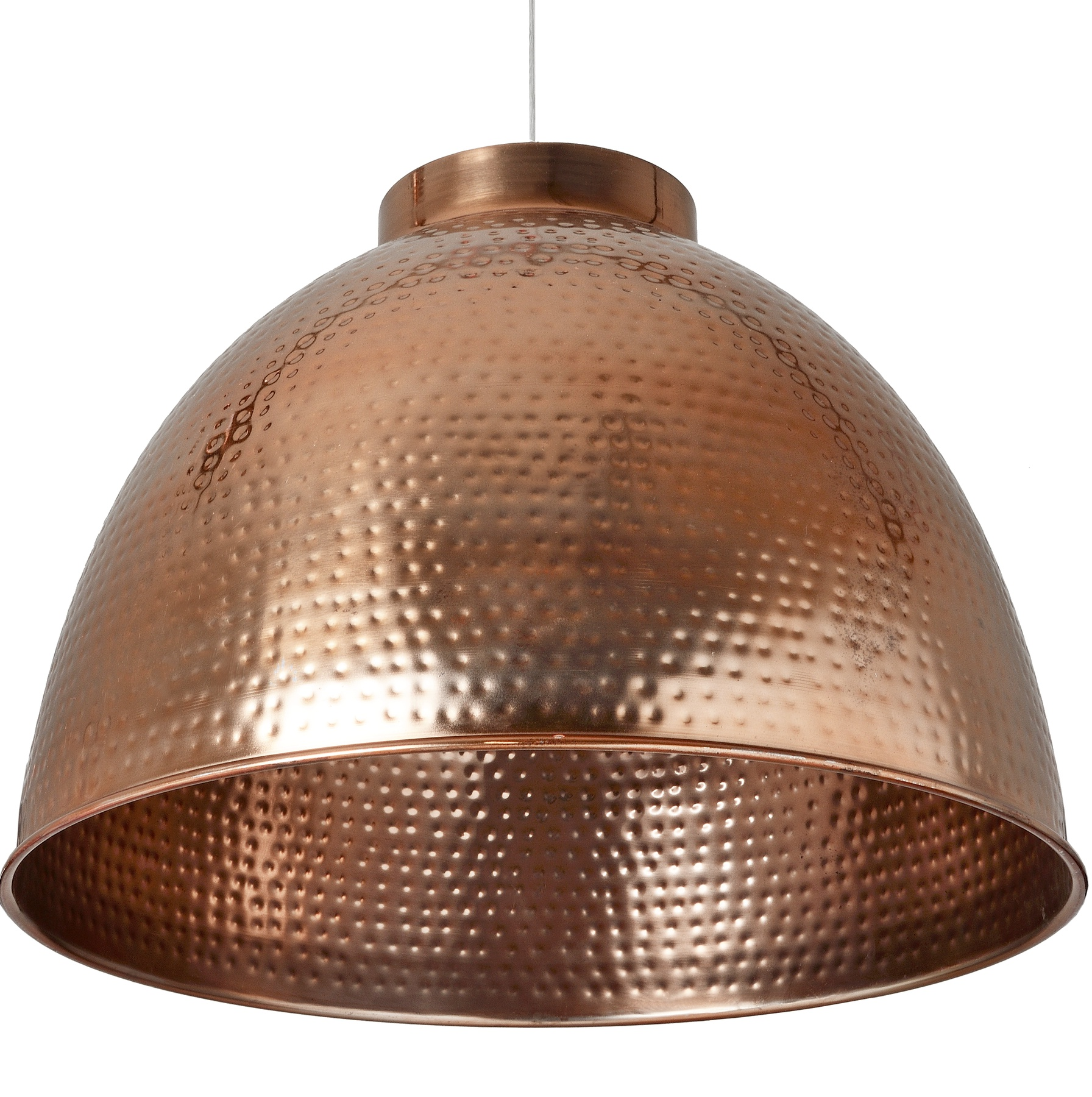 copper hammered metal pendant light