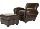 dark brown leather smoking chair with ottoman