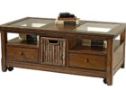 dark wood chest coffee table glass top