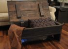 dark wood chest coffee table with storage