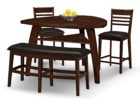 espresso triangle dining table with bench