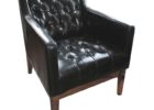 faux black tufted leather smoking chair