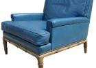 faux blue leather club chair