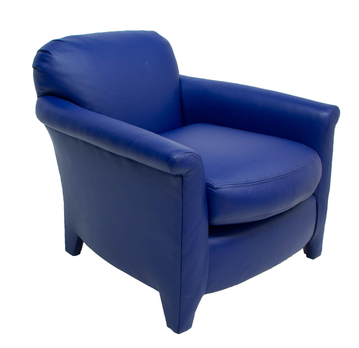 Bon Faux Navy Blue Leather Club Chair Slipcovers