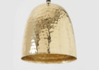 gold copper hammered metal pendant light
